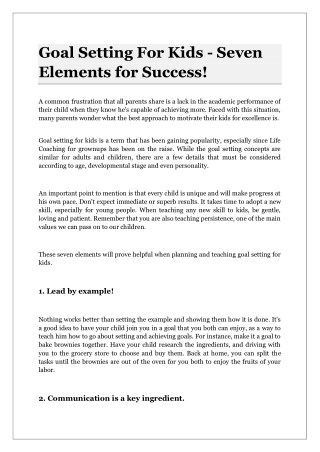 Goal Setting For Kids - Seven Elements for Success!