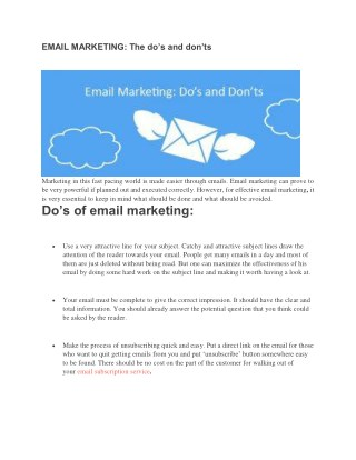 EMAIL MARKETING: The do's and don'ts