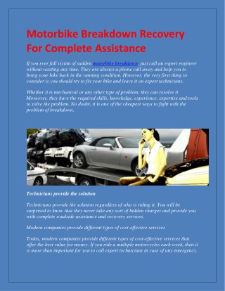 Motorbike Breakdown Recovery For Complete Assistance