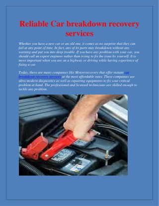 Reliable Car breakdown recovery services