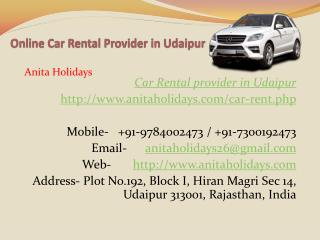 Online Car Rental Provider in Udaipur