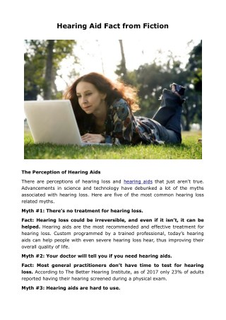 Hearing Aid Fact from Fiction