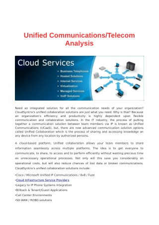 Unified Communications/Telecom Analysis | CloudSyntrix