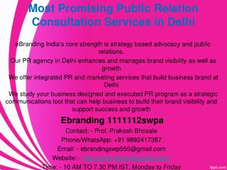 5.Most Trusted Public Relation Consultation Services in Delhi