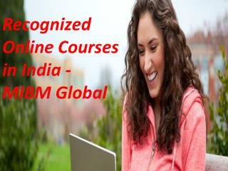 Recognized Online Courses in India