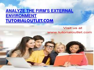 Analyze the firm's external environment