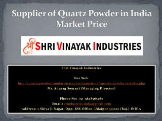 Supplier of Quartz Powder in India Market Price