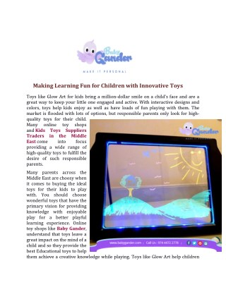 Making Learning Fun for Children with Innovative Toys