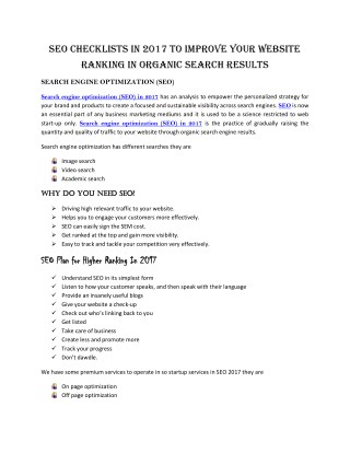 SEO CHECKLISTS IN 2017 TO IMPROVE YOUR WEBSITE RANKING IN ORGANIC SEARCH RESULTS.pdf