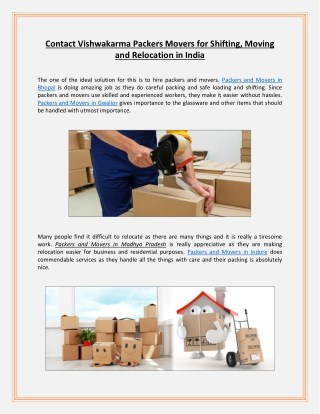 Contact Vishwakarma Packers Movers for Shifting, Moving and Relocation in India