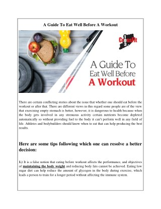 A Guide To Eat Well Before A Workout