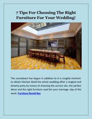 7 Tips For Choosing The Right Furniture For Your Wedding!