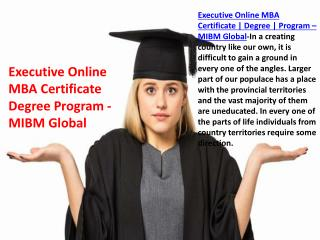 Executive Online MBA Certificate Degree Program in India