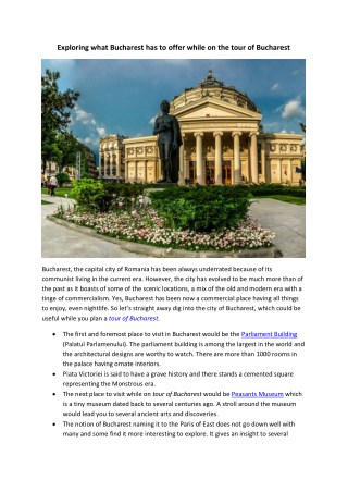 Private Sightseeing Tour of Bucharest | Full Day and Half Day Bucharest City Tours