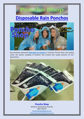 Disposable Rain Ponchos