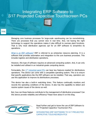 Integrating ERP Software to S17 Projected Capacitive Touchscreen PCs