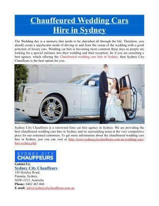 Chauffeured Wedding Cars Hire in Sydney