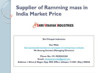 Supplier of Ramming mass in India Market Price