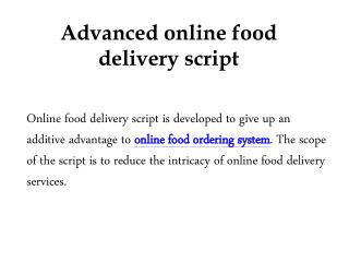 Advanced online food delivery script