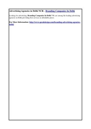 Advertising Agencies in Delhi NCR - Branding Companies in Delhi