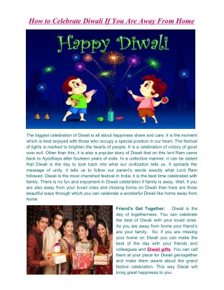 How to Celebrate Diwali If You Are Away From Home