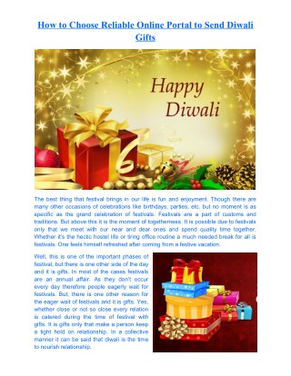 How to Choose Reliable Online Portal to Send Diwali Gifts