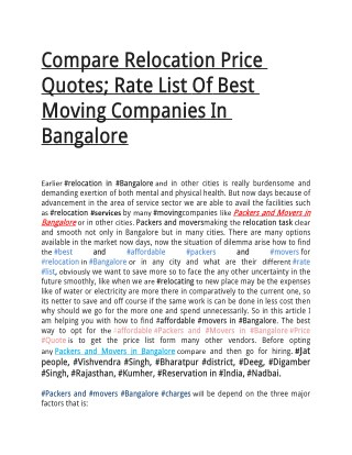 Compare Relocation Price Quotes; Rate List Of Best Moving Companies In Bangalore