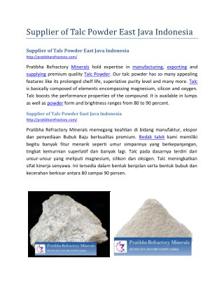 Supplier of Talc Powder East Java Indonesia