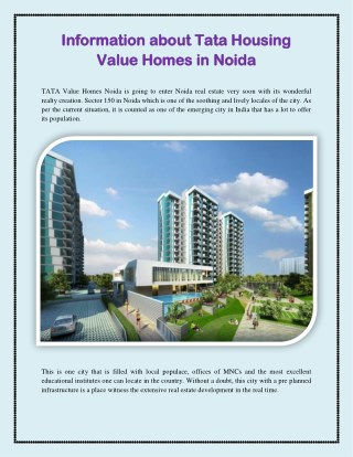 Information about Tata Housing Value Homes in Noida