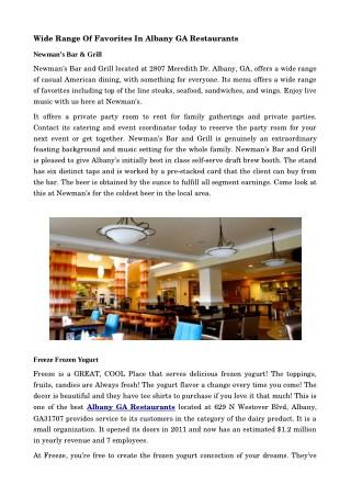 Taste The Delicious Food In Albany GA Restaurants