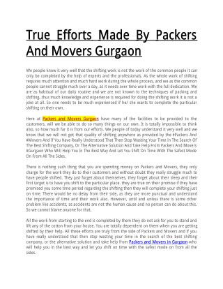 True Efforts Made By Packers And Movers Gurgaon