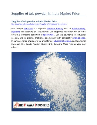 Supplier of talc powder in India Market Price