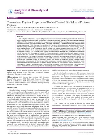 Trivedi Effect - Thermal and Physical Properties of Biofield Treated Bile Salt and Proteose Peptone