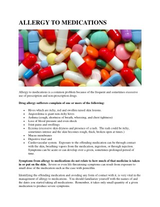 ALLERGY TO MEDICATIONS