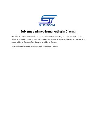 Mobile Marketing | People behaviour Statistics |Stelecom Chennai