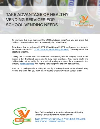 Take Advantage of Healthy Vending Services for School Vending Needs