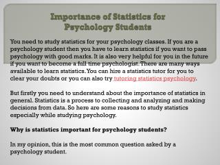 Importance of Statistics for Psychology Students