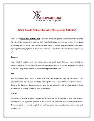 Foods for Rheumatoid Arthritis Diet Plan
