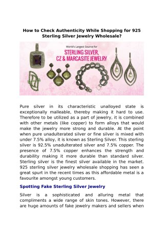 How to Check Authenticity While Shopping for 925 Sterling Silver Jewelry Wholesale?