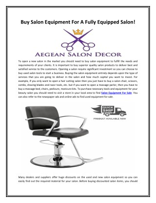 Buy Salon Equipment For A Fully Equipped Salon!