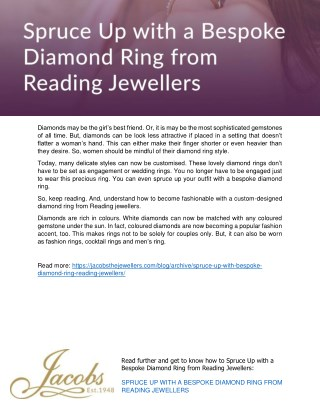 Spruce Up with a Bespoke Diamond Ring from Reading Jewellers
