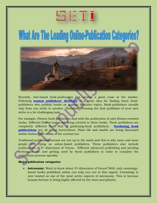 What Are The Leading Online-Publication Categories?
