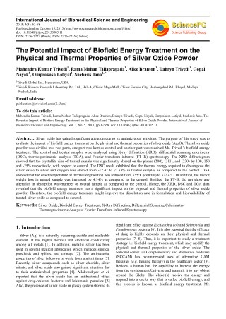 Trivedi Effect - The Potential Impact of Biofield Energy Treatment on the Physical and Thermal Properties of Silver Oxid