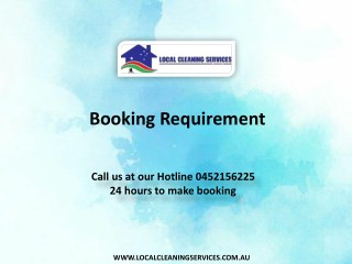 Booking Requirement - Local Cleaning Services