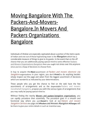 Moving Bangalore With The Packers-And-Movers-Bangalore.In Movers And Packers Organizations Bangalore