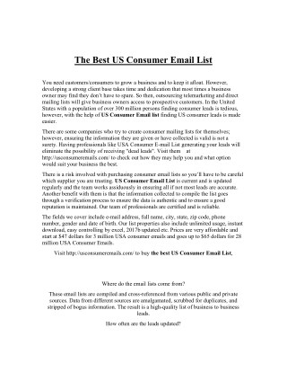 The best US consumer email list