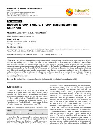 Trivedi Effect - Biofield Energy Signals, Energy Transmission and Neutrinos