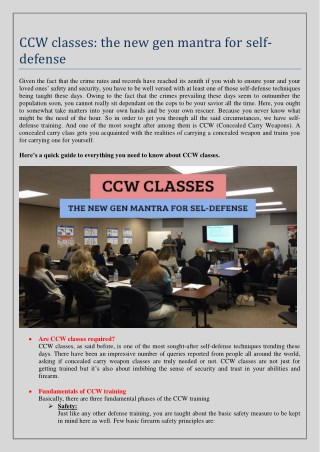 CCW classes : the new gen mantra for self-defense