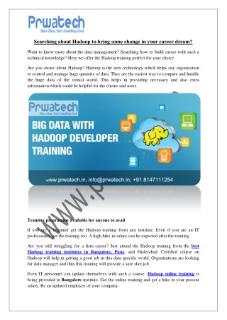 the best Hadoop training institutes in Bangalore, Pune, and Hyderabad.