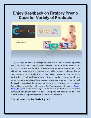 Enjoy Cashback on Firstcry Promo Code for Variety of Products